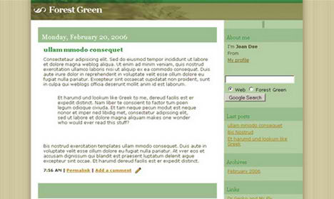 Forest Green Blogspot Template Free Download