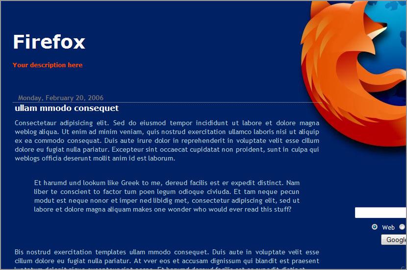 firefox mozilla blogspot template
