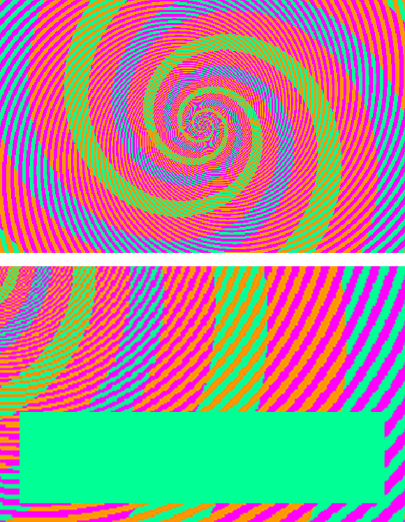 optical illusion blue green red color same