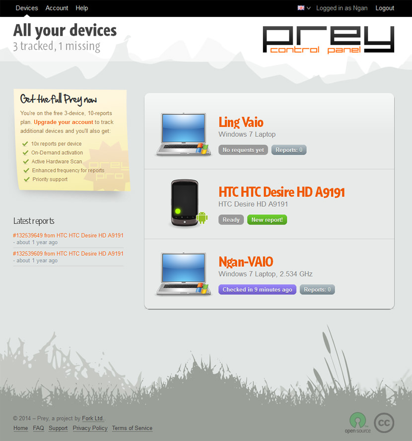 This page allows you to manage your device's settings as well as Prey's. If your device ever gets out of sight, you'll need to quickly return here and mark it as missing. This way Prey will begin to work its magic. You can also activate different modules and check if there are new reports to be seen.