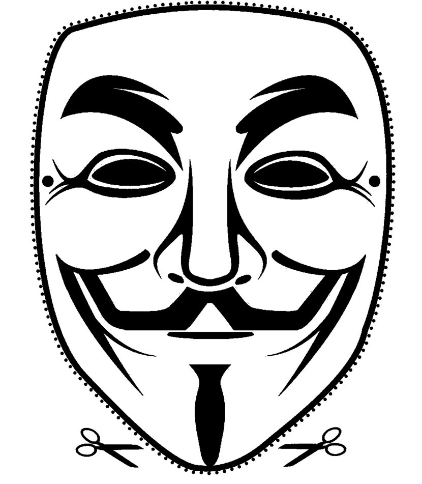 Printable Guy Fawkes Mask Cut Out