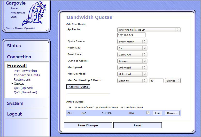 gargoyle wirelese router bandwidth quota mb