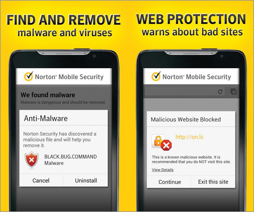Screen Shots of Norton Mobile Security on Android