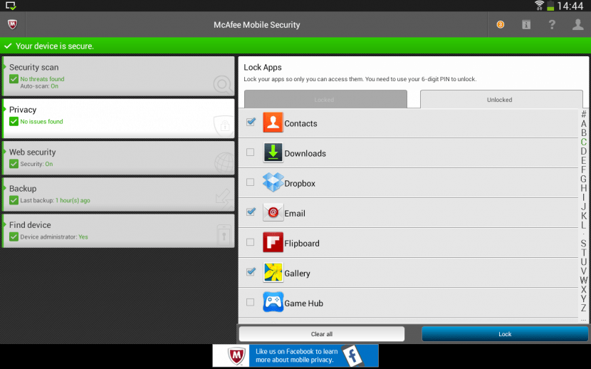 Android Antivirus — Scans for malicious code from files, SD card, apps and Internet downloads