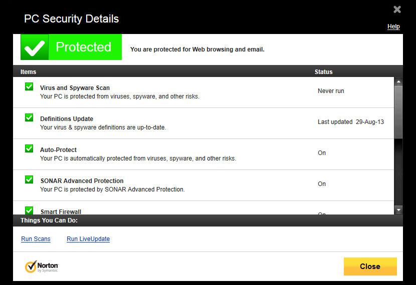 Screenshot of Norton 360 version 9.0