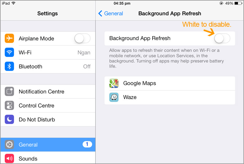 ios save battery trun off background app refresh Awesome Tips On Extending iPhone iOS8 Battery Life For 24 Hours