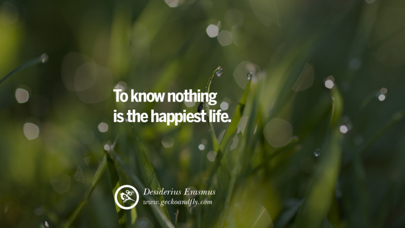 Inspiring Quotes about Life To know nothing is the happiest life. - Desiderius Erasmus