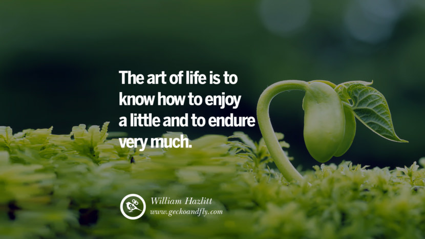 Inspiring Quotes about Life The art of life is to know how to enjoy a little and to endure very much. - William Hazlitt