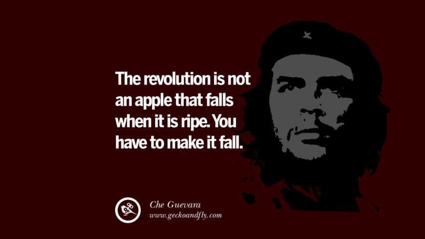 The revolution is not an apple that falls when it is ripe. You have to make it fall. - Che Guevara Quotes by Fidel Castro and Che Guevara best inspirational tumblr quotes instagram