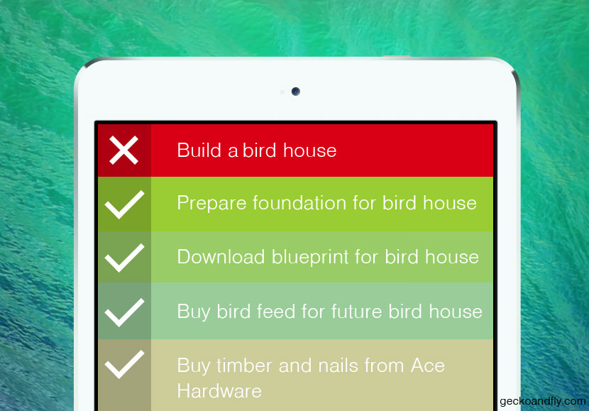 Break Down The List Works great for grocery list or any large project.