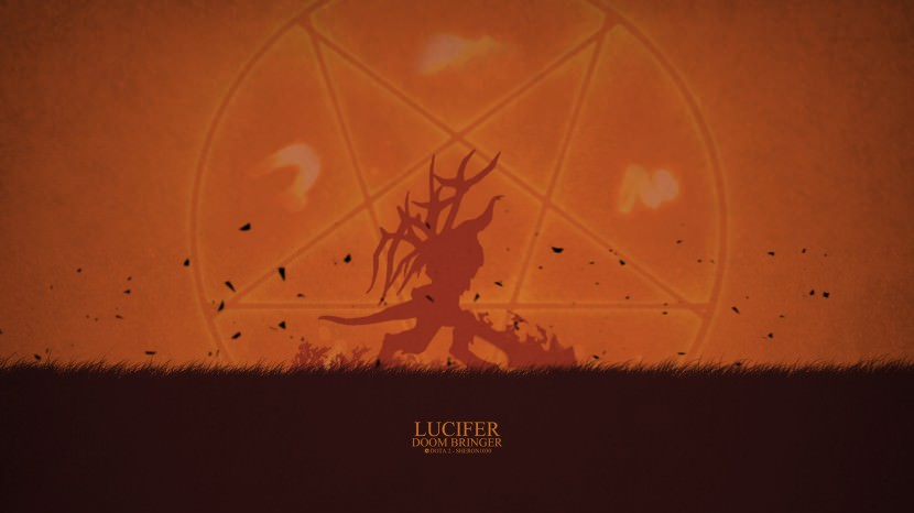 Doom Bringer lucifer download dota 2 heroes minimalist silhouette HD wallpaper