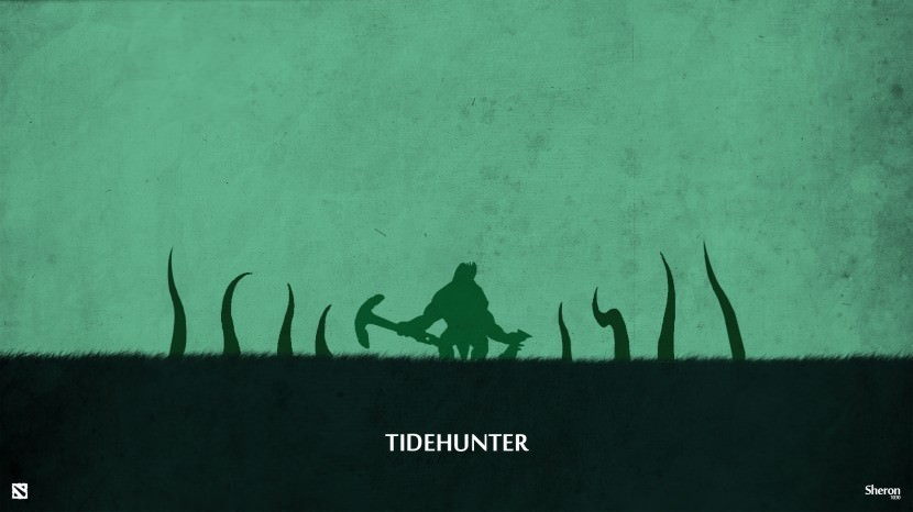 Tide Hunter download dota 2 heroes minimalist silhouette HD wallpaper