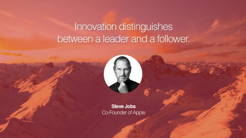Innovation distinguishes between a leader and a follower. Steve Jobs Co-Founder of Apple entrepreneur business quote success people instagram twitter reddit pinterest tumblr facebook famous inspirational best sayings geckoandfly www.geckoandfly.com