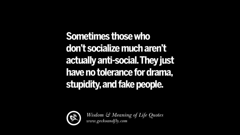 Sometimes those who don't socialize much aren't actually anti-social. They just have no tolerance for drama, stupidity, and fake people.