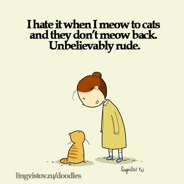 I hate it when I meow to cats and they don't meow back. Unbelievably rude. 40 Funny Doodles For Cat Lovers and Your Cat Crazy Lady Friend grumpy tom talking nyan instagram pinterest facebook twitter comic pictures youtube