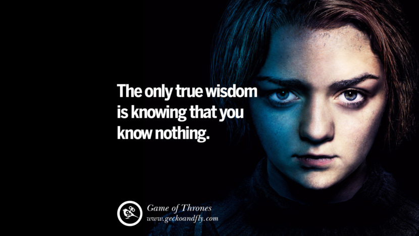 The only true wisdom is knowing that you know nothing. Game of Thrones Quotes pinterest instagram facebook twitter HBO emilia clarke lannister jon snow season 4 king joffrey