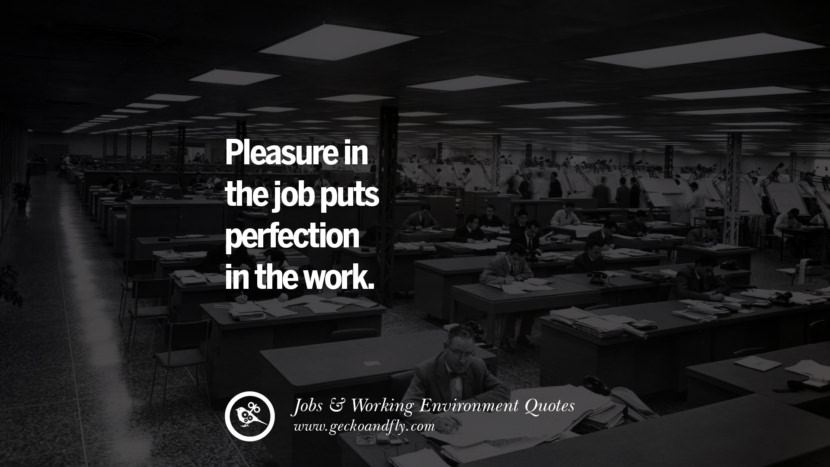 Pleasure in the job puts perfection in the work. Quotes On Office Job Occupation, Working Environment and Career Success