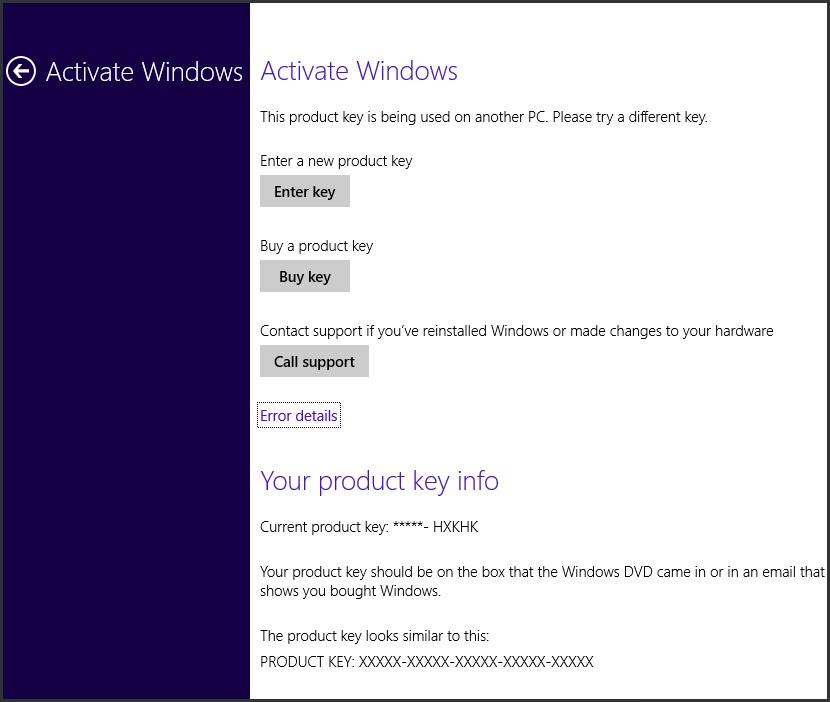 windows 8 activation error