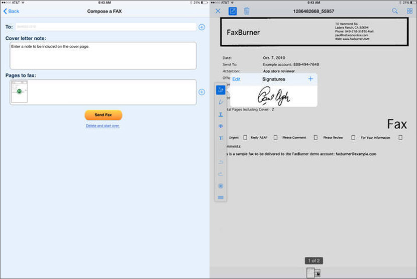 Send and receive free faxes to your email or iPhone