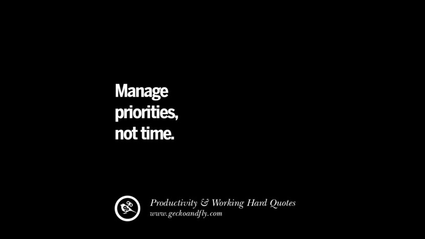 Manage priorities, not time. Inspiring Quotes On Productivity And Working Hard To Achieve Success facebook instagram twitter tumblr pinterest poster wallpaper download