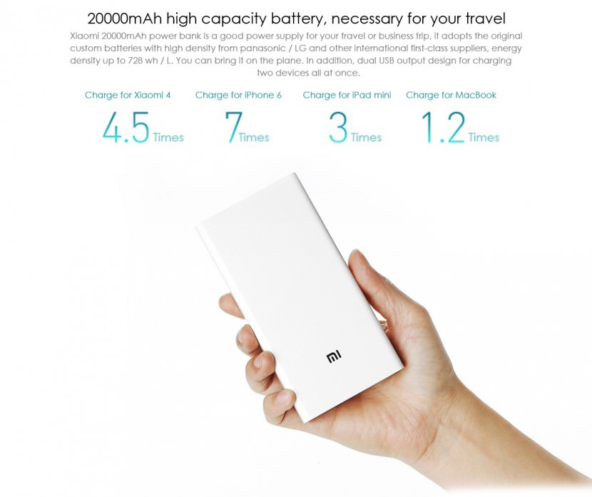 XiaoMi 20000 mAh Portable USB Battery Pack Power Bank Rechargable Sony LG Samsung Energizer Sanyo