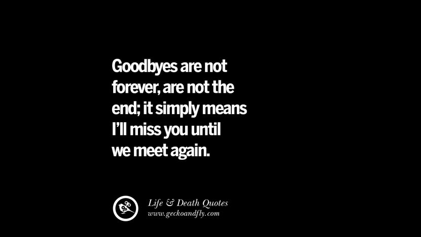 Goodbyes are not forever, are not the end; it simply means I'll miss you until we meet again.