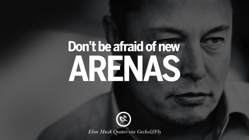 Don't be afraid of new arenas. Elon Musk Quotes on Business, The Future
