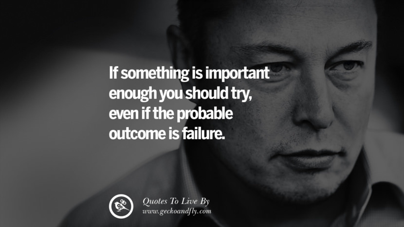 if something is important enough you should try, even if the probable outcome is failure. Elon Musk Quotes on Business, The Future
