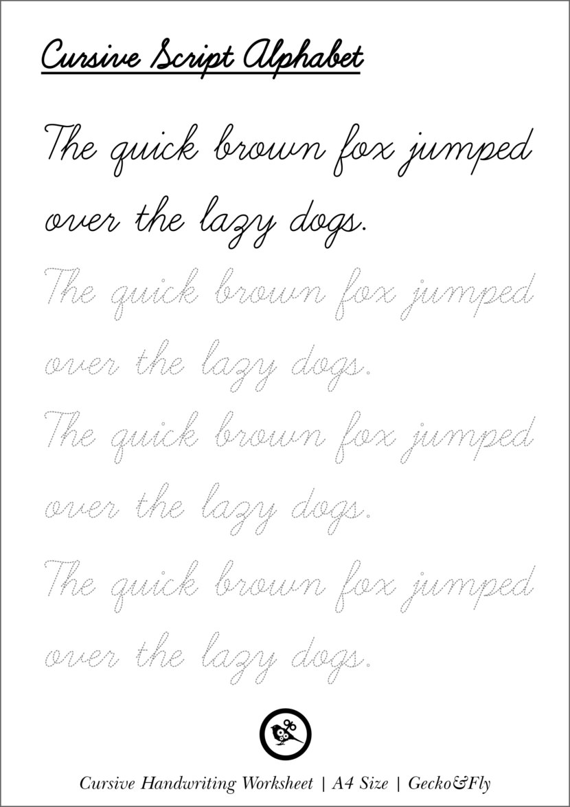 Beautiful Penmanship Handwriting Worksheet Practice Print Printable