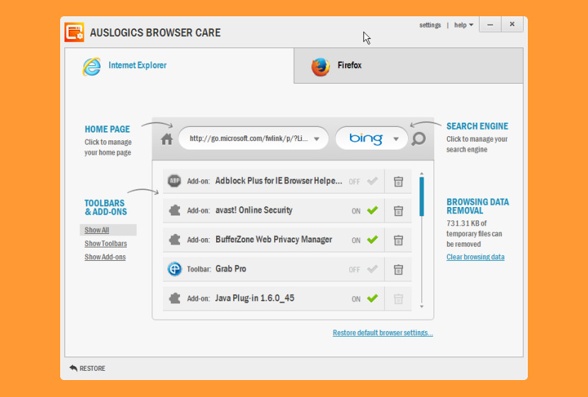Auslogics Browser Care