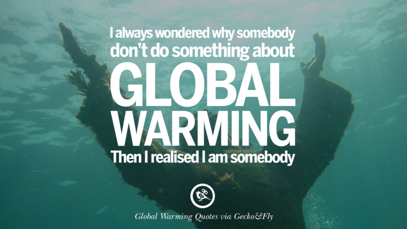 I always wondered why somebody don't do something about global warming. Then I realised I am somebody. Global Warming Quotes About Carbon Dioxide, Greenhouse Gases, And Emissions