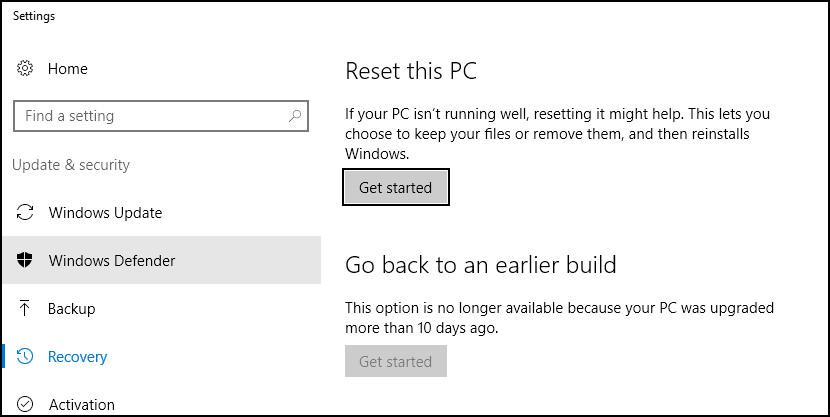 Windows 10 reset backup