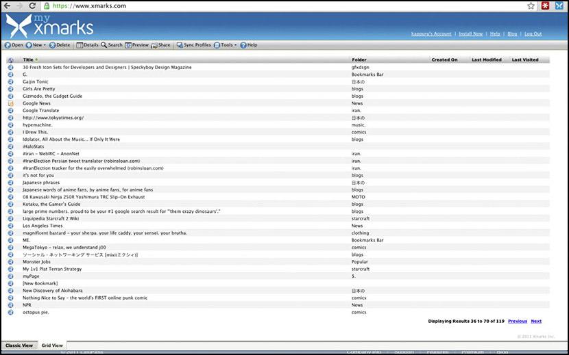 Xmarks Bookmark Sync