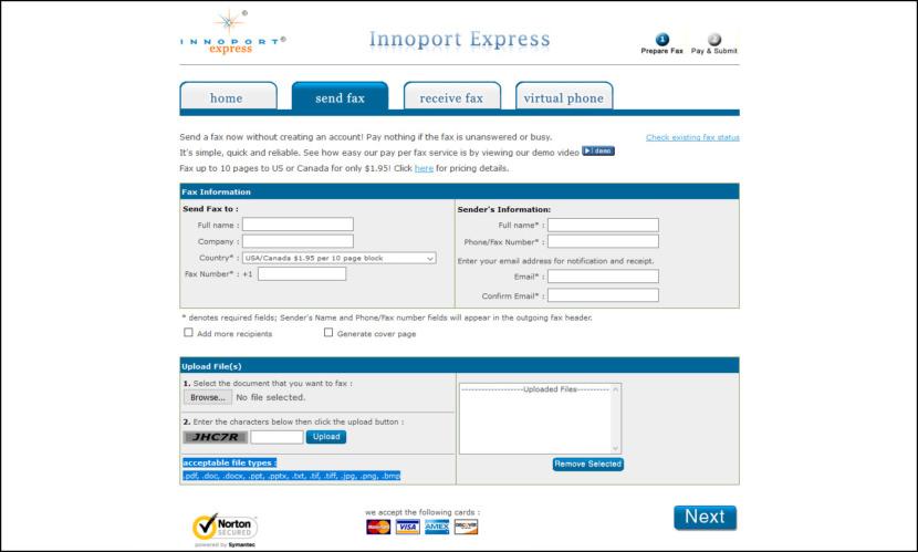 innoport express pay per fax