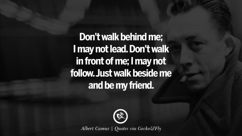 Don't walk behind me; I may not lead. Don't walk in front of me; I may not follow. Just walk beside me and be my friend. - Albert Camus