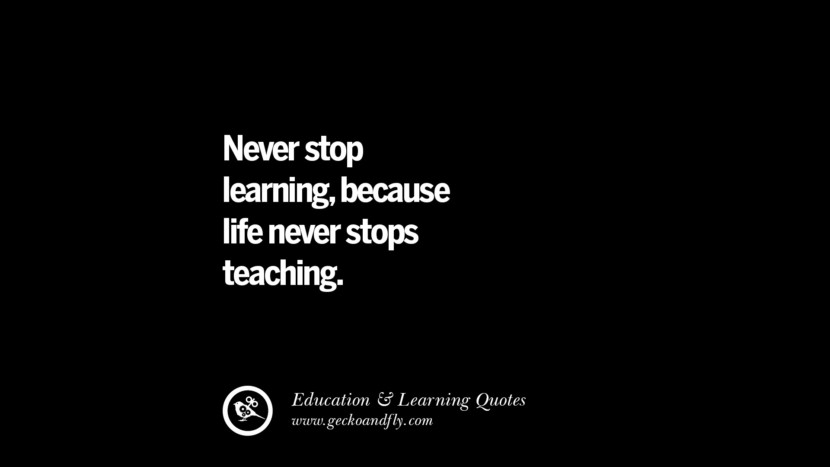 Never stop learning, because life never stops teaching. Quotes On Teaching Better And Make Learning More Effective