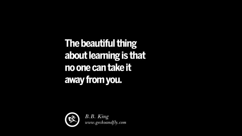 The beautiful thing about learning is that no one can take it away from you. - B.B. King Quotes On Teaching Better And Make Learning More Effective