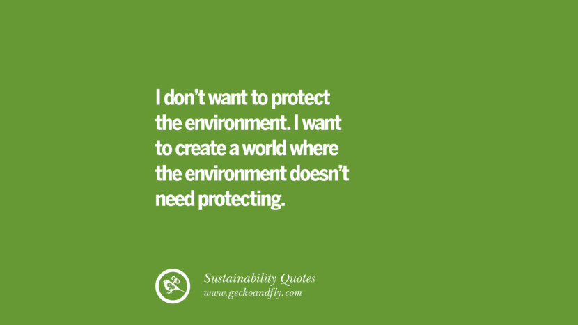 I don't want to protect the environment. I want to create a world where the environment doesn't need protecting. Sustainability Quotes On Recycling, Energy, Ecology, And Biodiversity