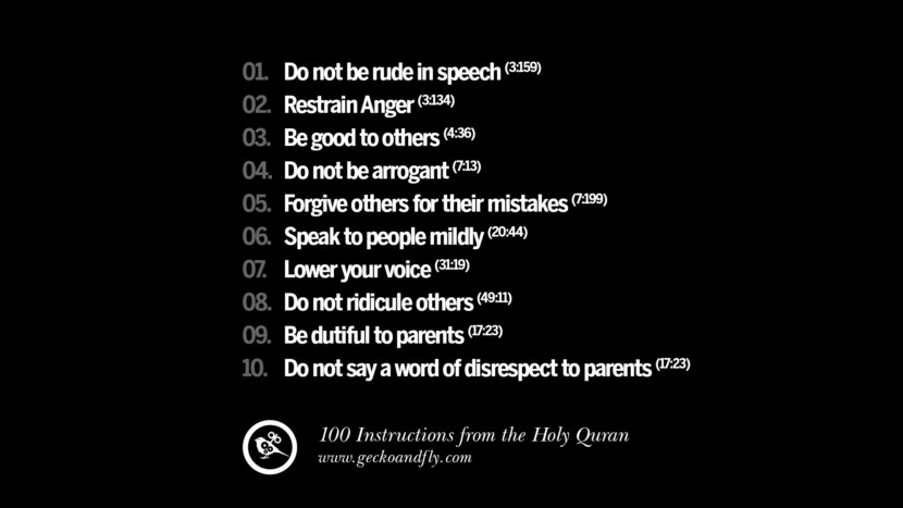 Do not be rude in speech Restrain Anger Be good to others Do not be arrogant Forgive others for their mistakes Speak to people mildly Lower your voice Do not ridicule others Be dutiful to parents Do not say a word of disrespect to parents Instructions By God In The Holy Quran For Mankind Muslim Islam Quotes