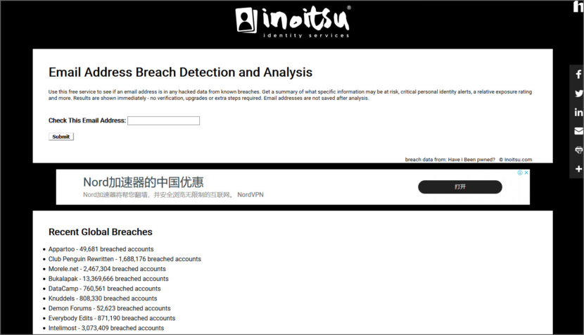 Inoitsu Email Address Breach Analysis