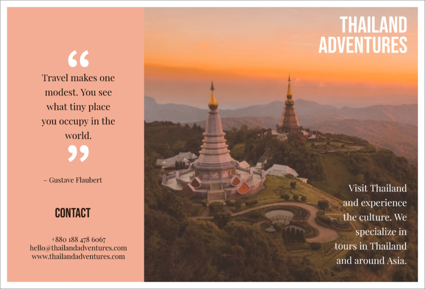 Travel adventure thailand Free Editable Professional Brochure Templates