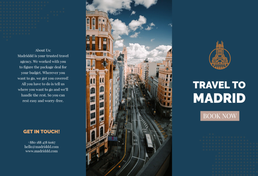 spain madrid treval backpack city Free Editable Professional Brochure Templates