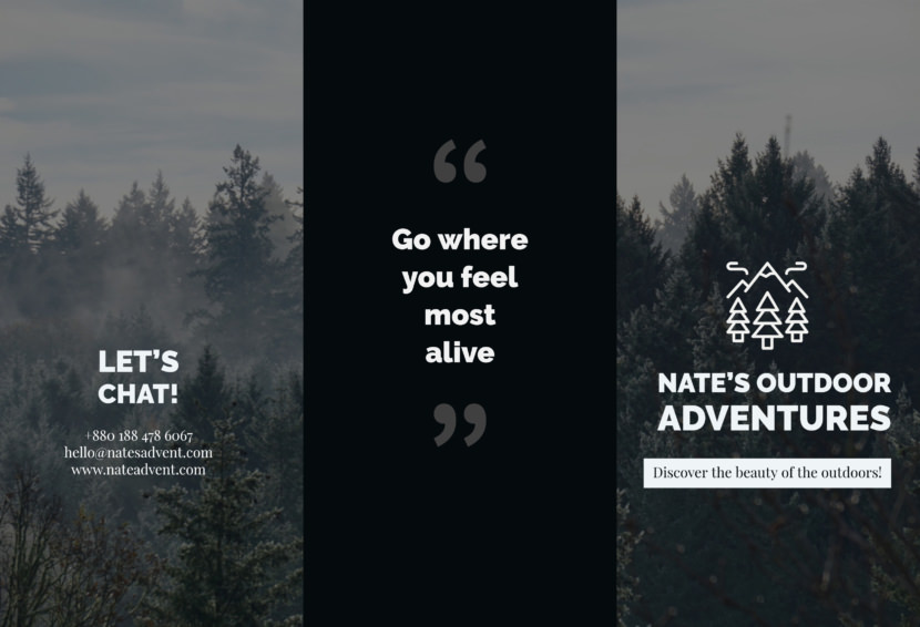 black white outdoor adventures Free Editable Professional Brochure Templates