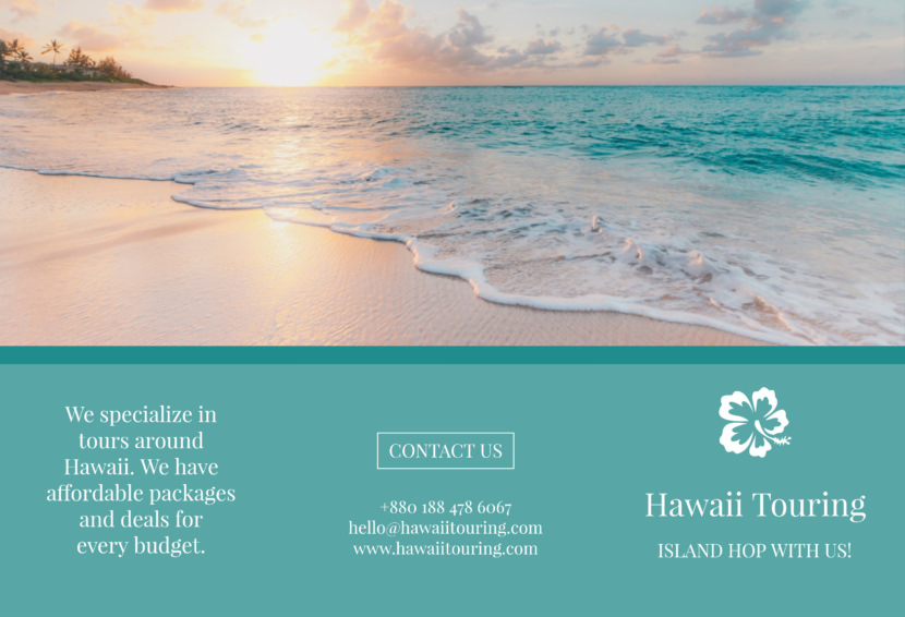 sea beach hawaii tour Free Editable Professional Brochure Templates