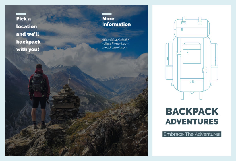 outdoor climbing backpack Free Editable Professional Brochure Templates
