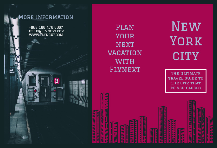 new york train travel Free Editable Professional Brochure Templates
