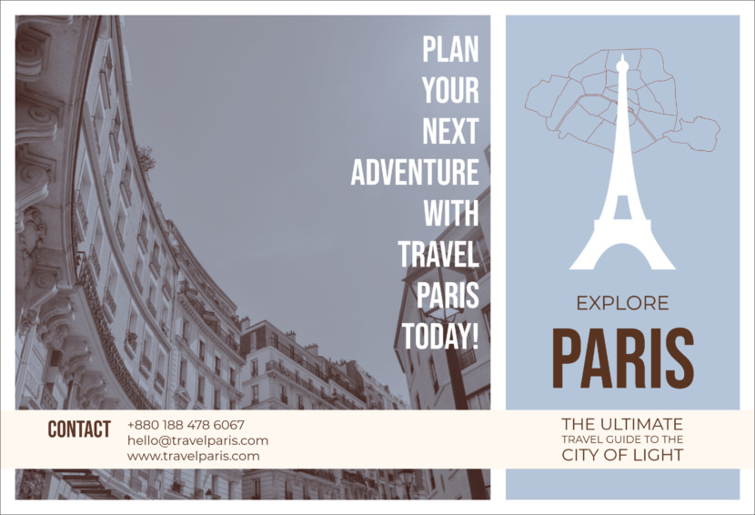 paris city tour Free Editable Professional Brochure Templates