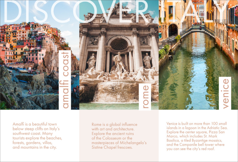 discover italy travel rome Free Editable Professional Brochure Templates