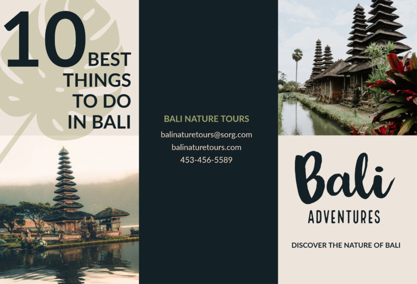 bali indonesia adventures Free Editable Professional Brochure Templates