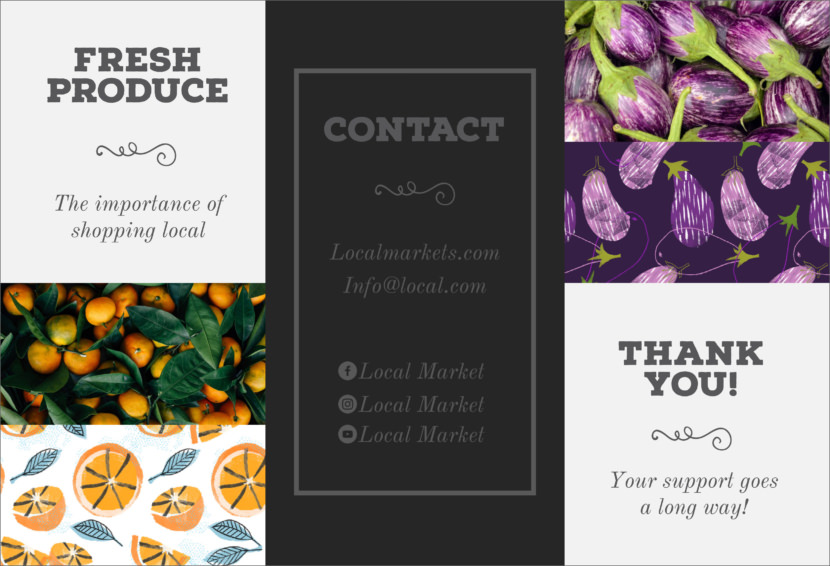 fresh fruits vegetables Free Editable Professional Brochure Templates